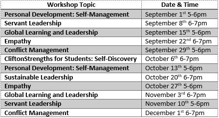 workshop wednesday fall 2021 calendar