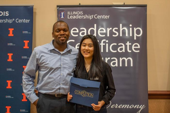 Photo of a Certificate student and her coach at a Certificate Completion Ceremony